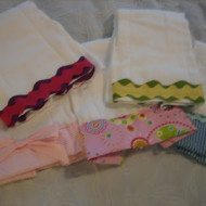 Burp Cloths or Tea Towels adorned with Ribbon