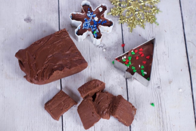 3 ingredient Easy Fudge Recipe cookie cutter