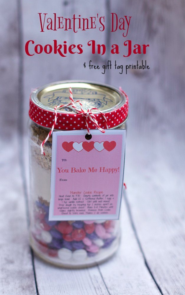 Layered Cookies In A Jar For Valentines Day Free Printable