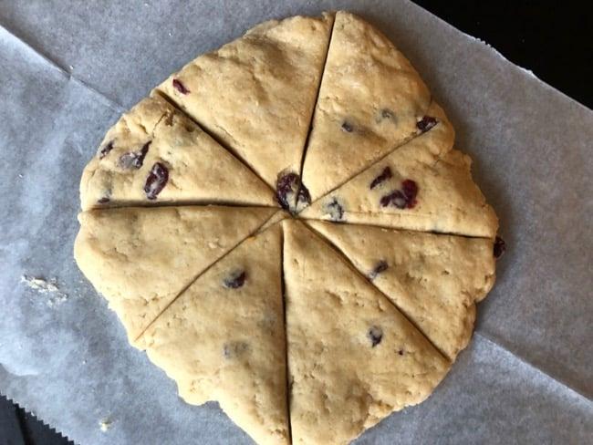 how to shape orange cranberry scones