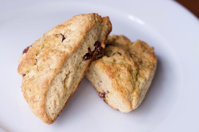 close up cranberry orange scones