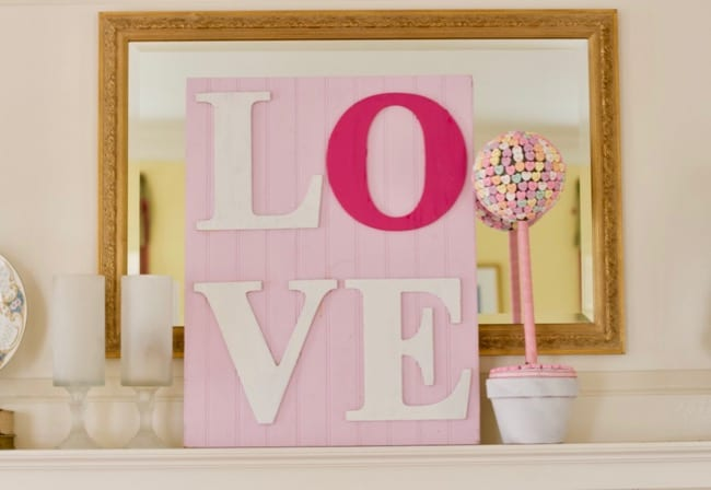 Valentines Day Mantel Decor Conversation Heart Topiary & Dollar Store Mosaic