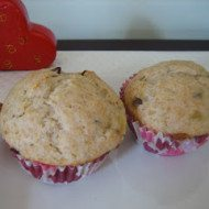 Banana Muffins with Cream Cheese Frosting-A valentine's breakfast