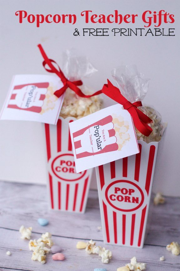 DIY Popcorn teacher gift ideas for Valentines Day Teacher Gift Ideas
