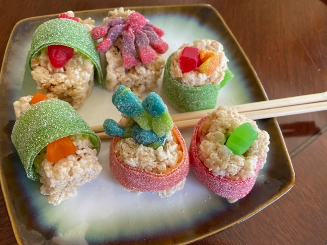 close up of candy sushi rice crispies