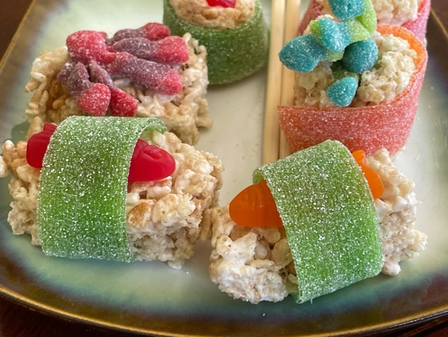 candy sushi with candy fish