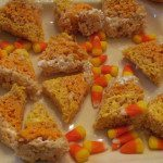 Candy Corn Shaped Rice Treats