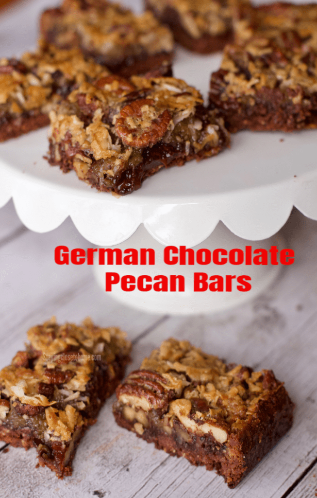 twist on Pecan Bars and German Chocolate Cake, these German Chocolate Pecan Bars will be a keeper in your home