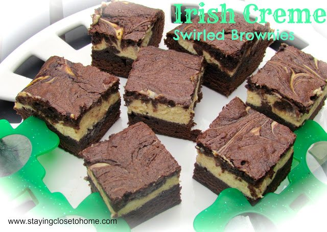 St. Patrick's Day Dessert Recipe:  Irish Creme Swirled Brownies