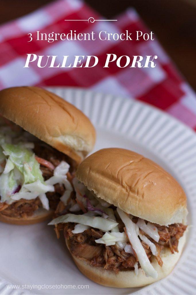best 3 ingredient slow cooker pulled pork recipe.