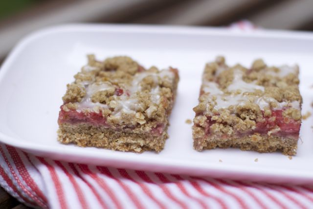 strawberry rhubarb bars are the perfect summer combination in these single serving bars