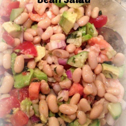 Roasted Shrimp Avocado and White Bean Salad