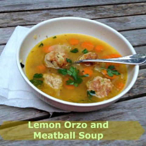 Lemon Orzo & Meatball soup