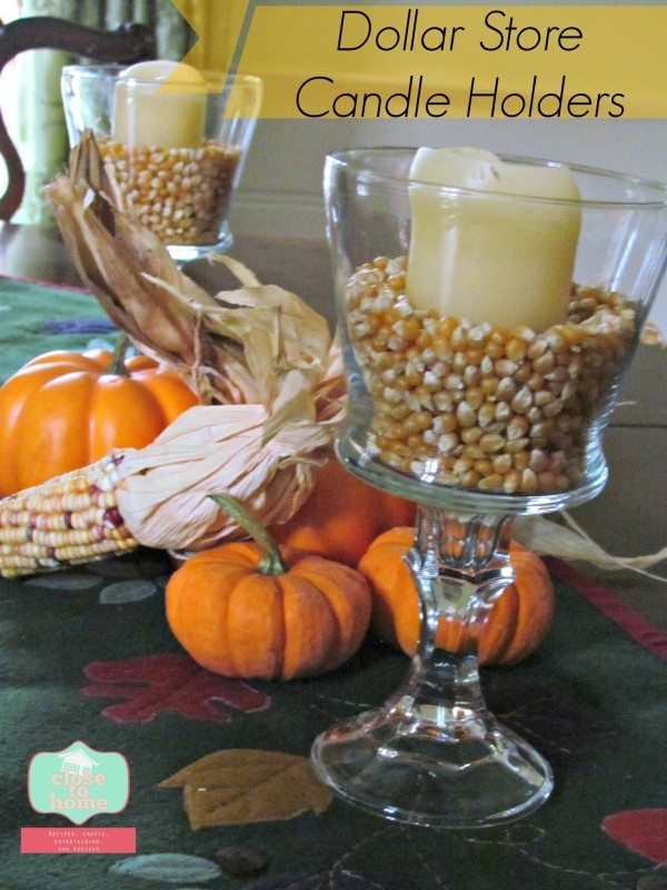 Fall Dollar Store Crafts: DIY Glass Candle Holders