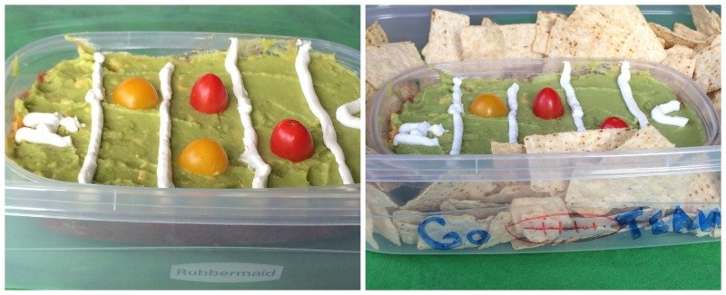 layered dip football field Fun Kid Friendly Super Bowl Party Ideas