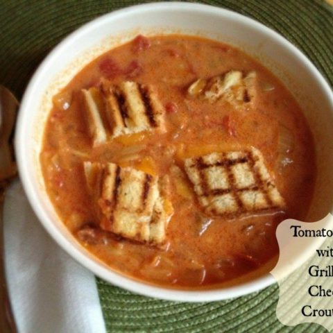 Easy Tomato Soup with Grilled Cheeese Croutons