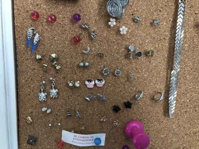 cork board earring storage