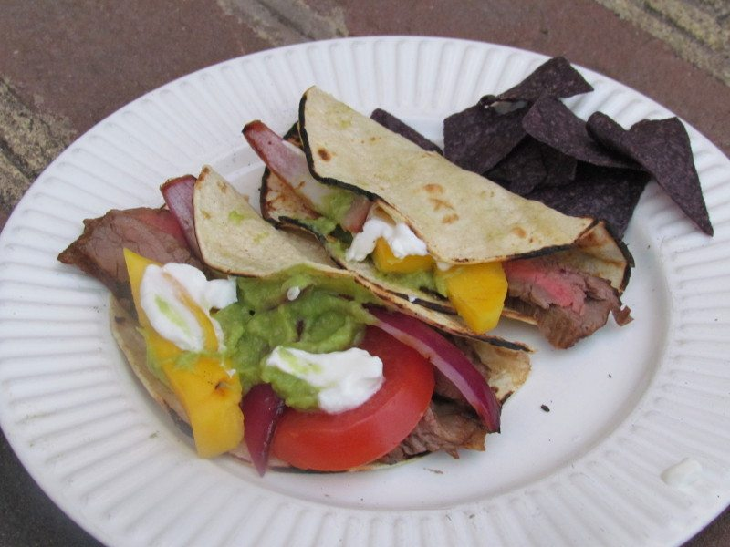 flank steak and mango tacos