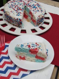 Red white and blue cake