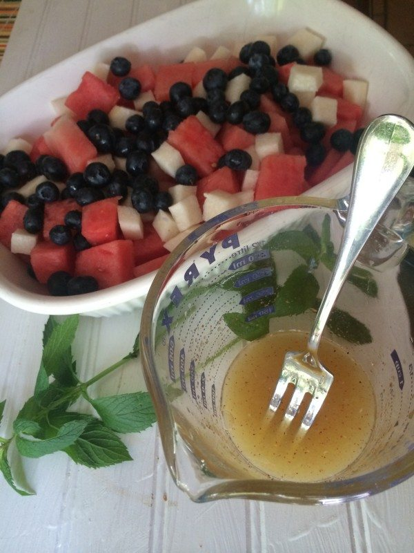 4th Of July Recipes: Our Red, White, & Blue Fruit Salad Recipe is a great 4th of July recipes idea that features fresh fruit and a light mint dressing!