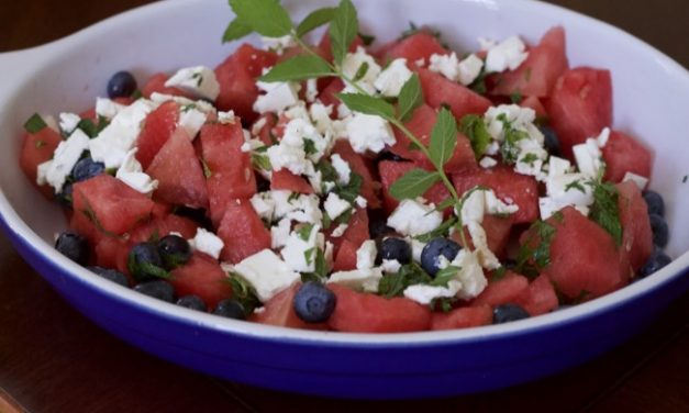Blueberry Watermelon Feta Salad ( Red White and Blue Fruit Salad)