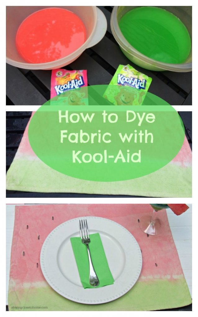 How to dye fabric with kook-aid and make these watermelon placemats for summer entertaining.