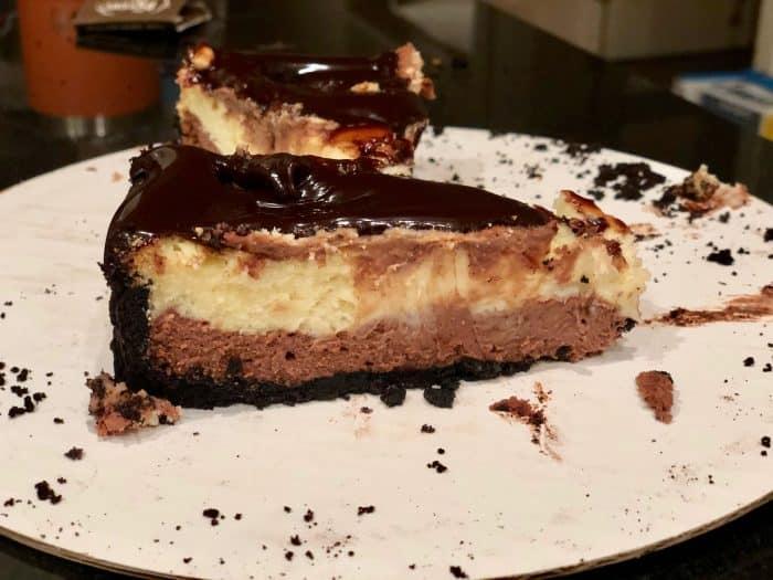 slice of double chocolate cheesecake