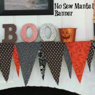 No Sew Halloween Mantel Decor