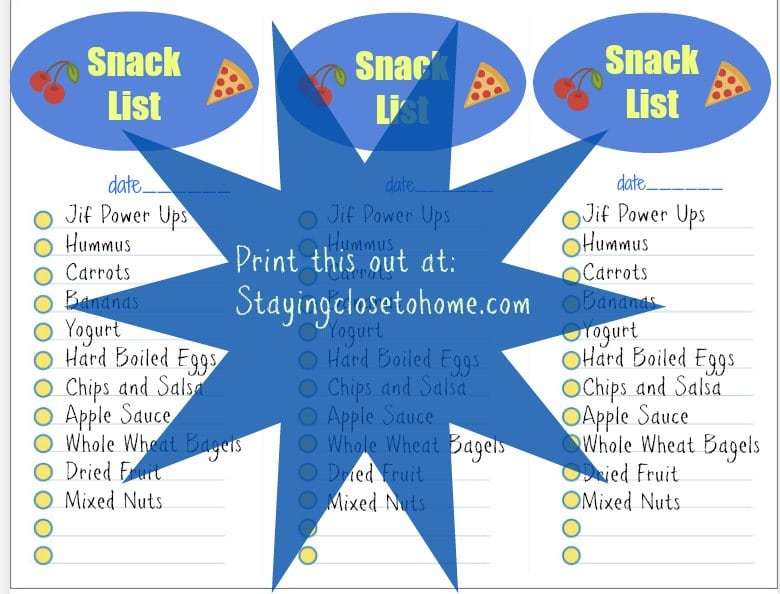 Teen Grocery List Printable