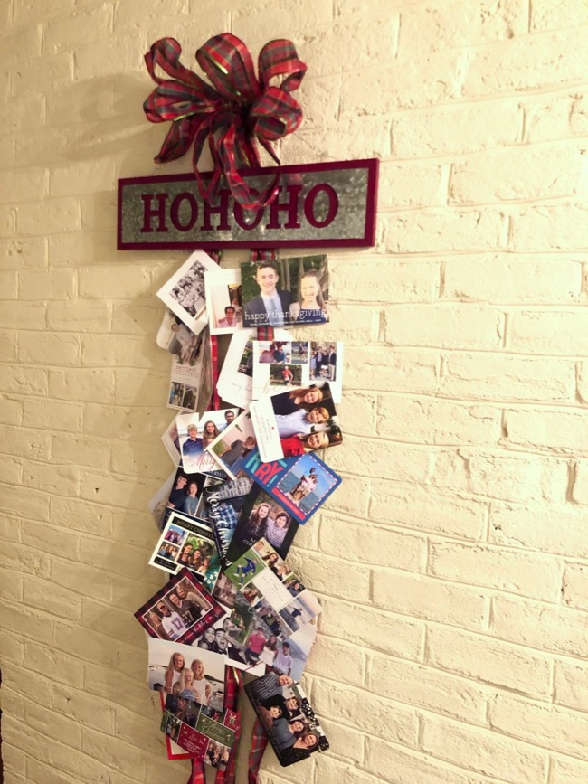how to display christmas cards ribbon