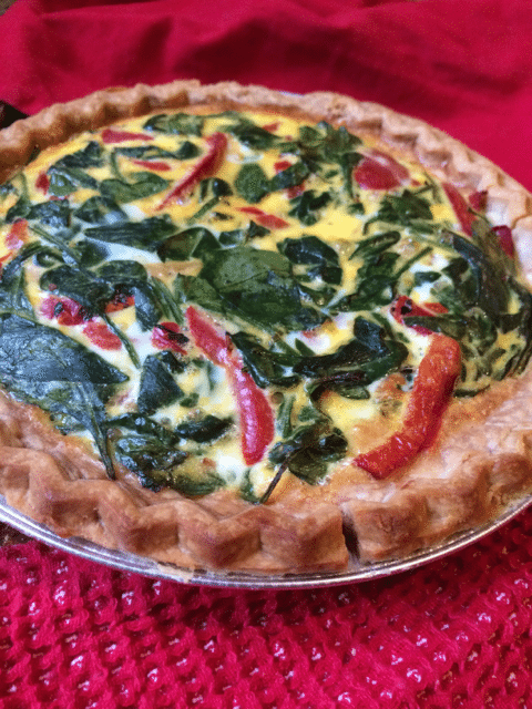 spinach, red pepper, feta quiche