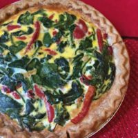 Roasted Red Pepper, Spinach and Feta Quiche
