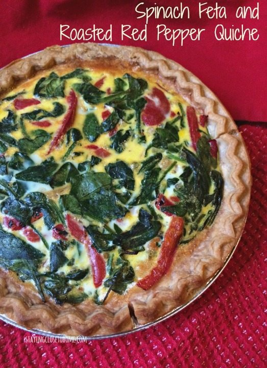 Roasted Red Pepper, Feta and Spinach Quiche Recipe