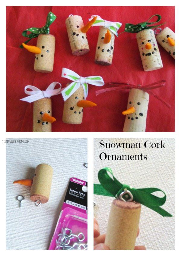 snowman cork ornaments