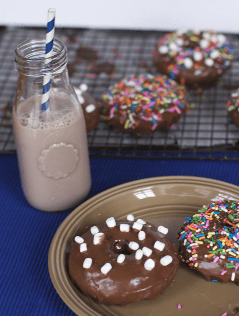 Valentines Day Breakfast– Double Chocolate Baked Donuts