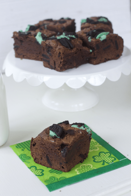 St Patrick's Day Dessert Idea- Ultimate Mint Oreo Brownies