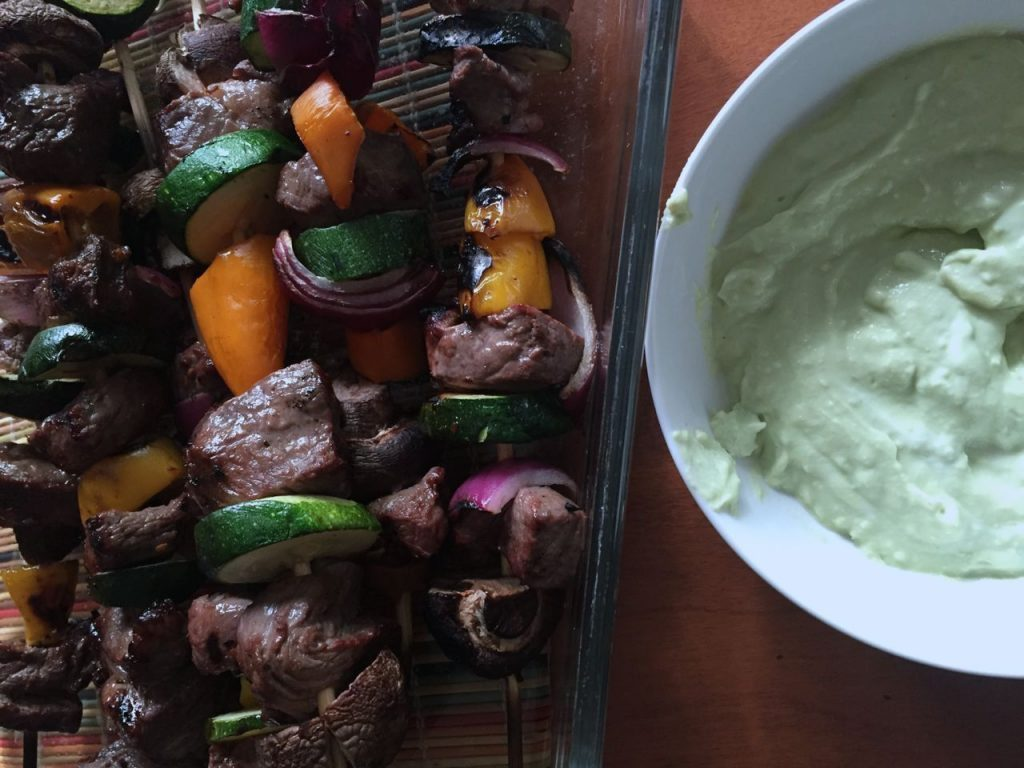 Make these yummy  Grilled Steak Kebabs with Avocado Dip for your next summer bbq