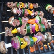 Grilled Steak Kebabs with Avocado Dip