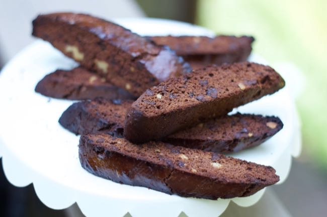 chocolate brownie biscotti stacked