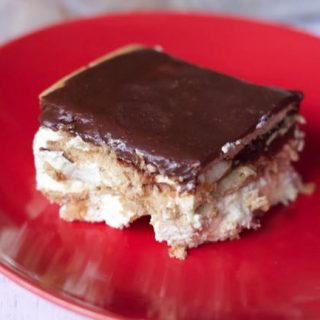 close up slice of chocolate eclair cake recipe