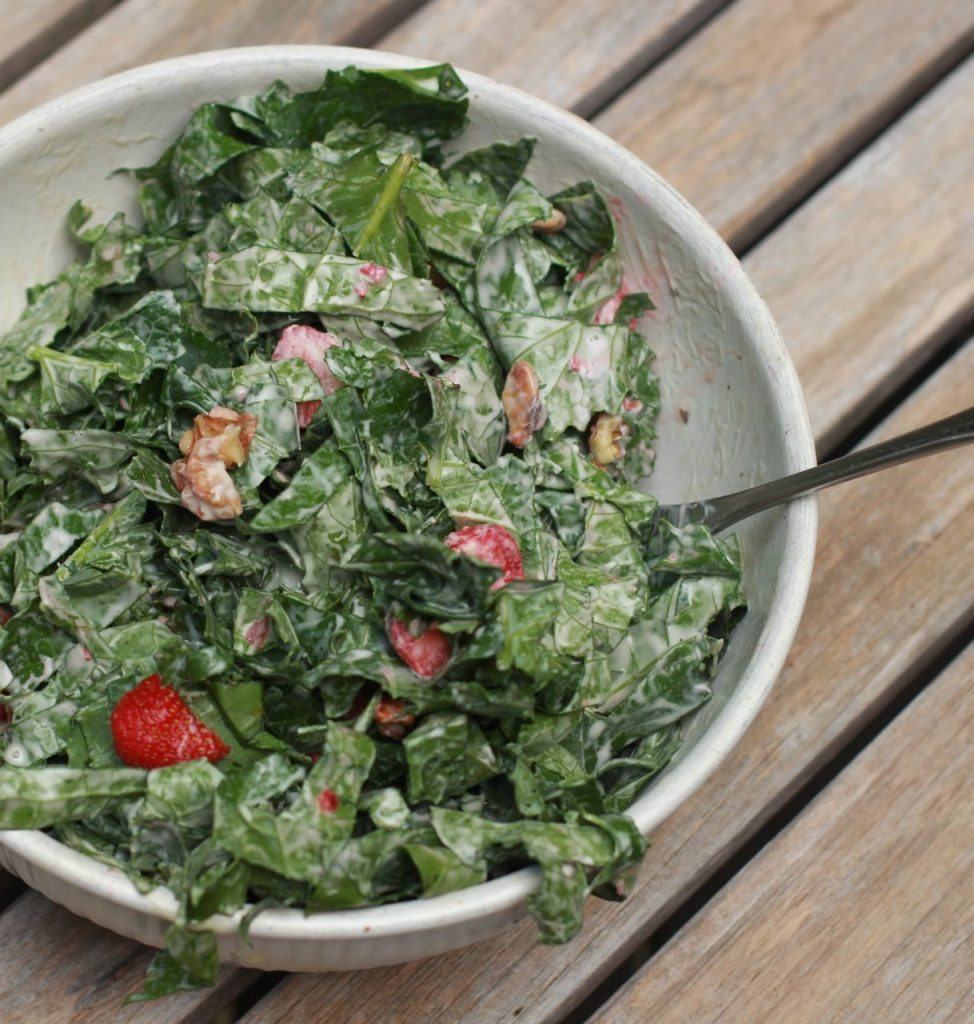 Strawberry Walnut Kale Salad Recipe