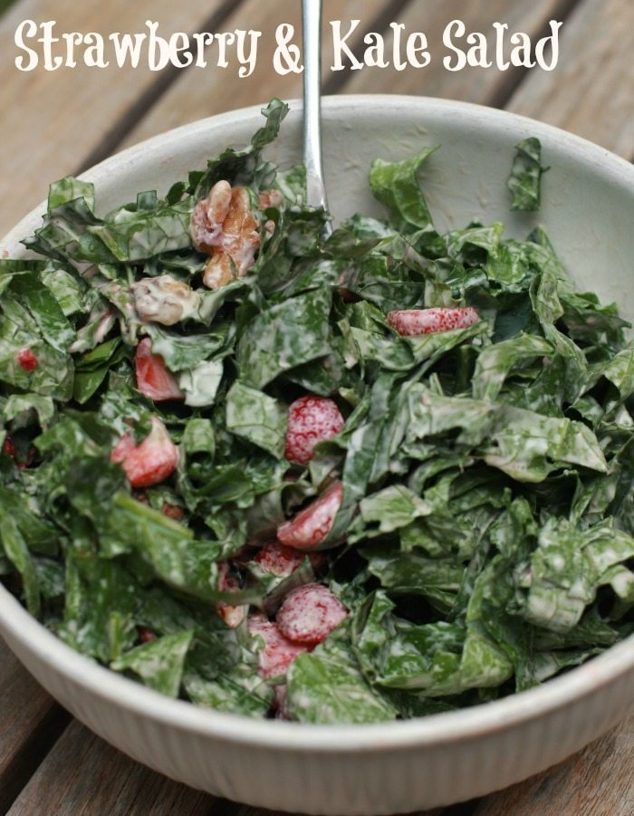 This Strawberry walnut kale salad is an easy spring salad