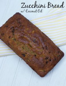 Zucchini Bread made with Coconut Oil