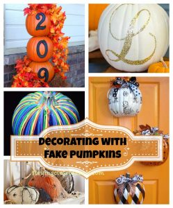 fall decor with faux pumpkins
