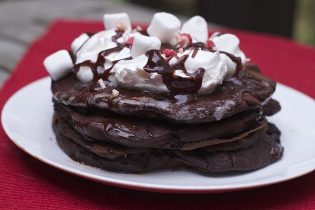 close up chocolate pancake