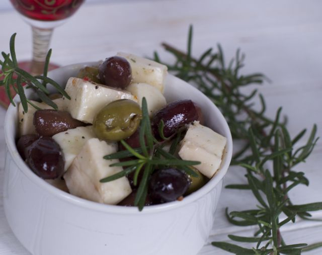marinated olives and cheese