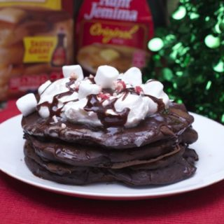 Hot Cocoa Pancakes with Peppermint Drizzle