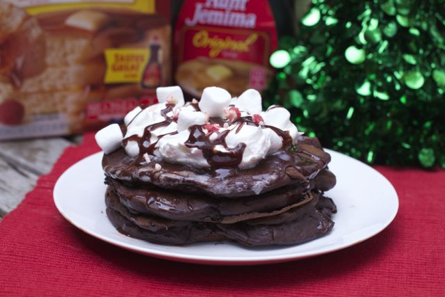 Hot Cocoa Pancakes with Peppermint Glaze