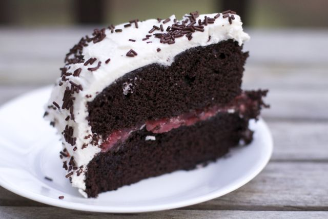 Devil's Food Cake with Strawberry Filling & Buttercream Frosting