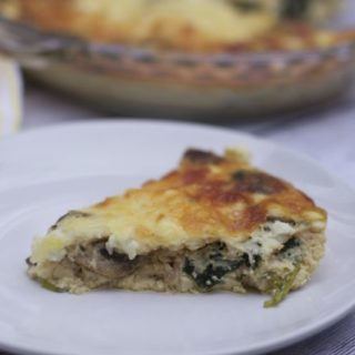 3 Cheese, Mushroom, Kale Crustless Quiche